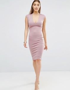 Облегающее платье миди с V‑образным вырезом AX Paris - Фиолетовый