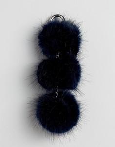 Кольцо для ключей с тремя помпонами из искусственного меха Urbancode - Темно-синий