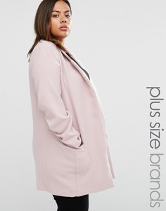 Elvi Plus Coat With Zip Details - Розовый