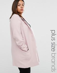 Elvi Plus Coat With Zip Details - Розовый
