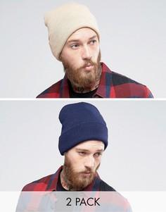 2 шапки-бини (темно-синяя/светло-бежевая) Gregorys - Мульти
