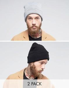 2 шапки-бини (черная/серая) Gregorys - Мульти