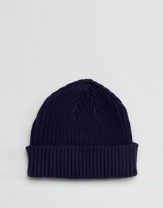 Темно-синяя шапка-бини в рубчик Gregorys - Темно-синий