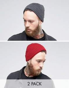 2 шапки-бини в рубчик (темно-серая, бордовая) Gregorys - Мульти