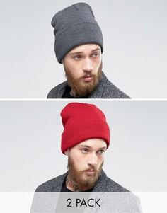 2 шапки-бини (темно-серая/бордовая) Gregorys - Мульти