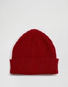 Бордовая шапка-бини в рубчик Gregorys - Красный