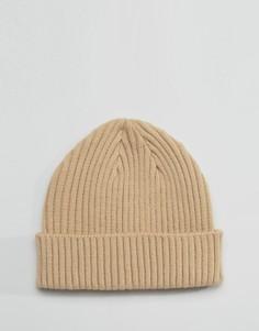 Светло-бежевая шапка-бини в рубчик Gregorys - Бежевый