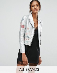 Куртка из искусственной кожи с цветочной вышивкой Glamorous Tall - Серебряный