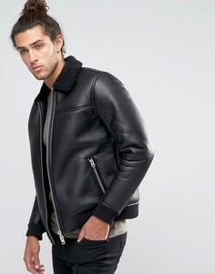 Куртка-пилот из искусственной кожи с воротником борг Barneys - Черный Barneys Originals