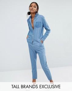 Комбинезон с карманом в стиле пэтчворк Daisy Street Tall - Синий
