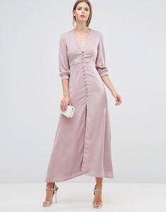 Платье макси с пуговицами Oh My Love - Розовый