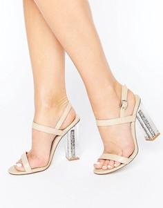 Сандалии на прозрачном каблуке с блестками Public Desire Adley - Бежевый