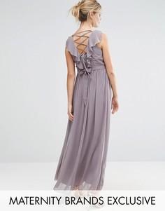 Little Mistress Maternity Embellished Waist Maxi Dress With Cross Back Detail - Серый