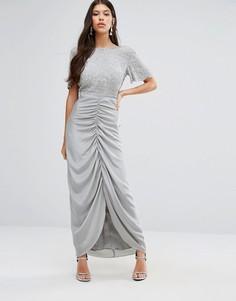 Платье макси со сборками на юбке Virgos Lounge Keira - Серый