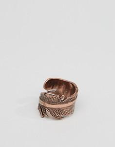 Золотистое кольцо с дизайном в виде пера Icon Brand - Золотой
