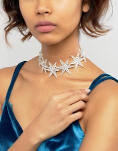 Ожерелье-чокер со звездой Love Rocks - Серебряный