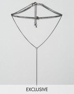 Ожерелье в несколько рядов с Y-образной цепочкой DesignB London - Серебряный