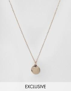 Ожерелье с подвеской-диском DesignB London - Золотой