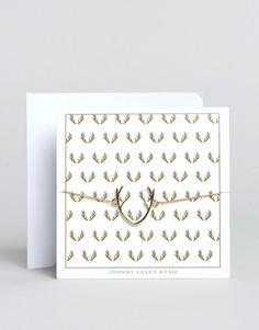 Браслет с открыткой Johnny Loves Rosie Reindeer - Золотой