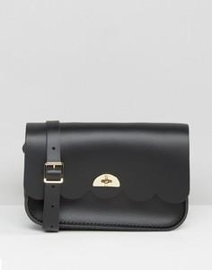 Кожаная сумка через плечо с фактурной отделкой по краю The Cambridge Satchel Company - Черный