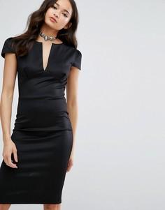 Платье-футляр для офиса с короткими рукавами Club L - Черный