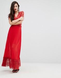 Плиссированное платье миди с кружевной отделкой лифа Bodyfrock - Красный