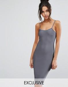 Облегающее платье миди цвета металлик NaaNaa - Серый