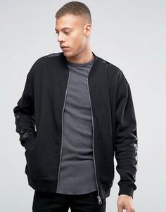 Трикотажная куртка-пилот с отделкой в стиле смокинга Cheap Monday Appeal - Черный