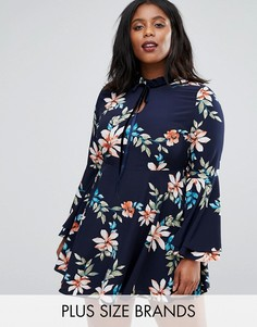 Alice & You Floral Skater Dress With Fluted Sleeve - Мульти