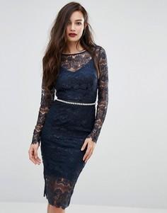 Кружевное облегающее платье с длинными рукавами и завязывающимся поясом Bodyfrock - Темно-синий