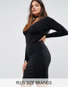 Missguided Plus Plunge Bodycon Dress - Черный