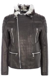 куртка из натуральной кожи с тиснением на подкладе из овчины Vericci