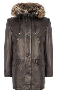 кожаная куртка, утепленная овчиной, с отделкой мехом енота Vericci
