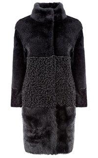 Утепленное пальто из овчины с отделкой тосканой и натуральной кожей Virtuale Fur Collection