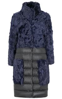 Комбинированное пальто-пуховик из меха козлика Virtuale Fur Collection