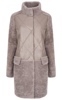 Пальто из овчины и натуральной кожи, утепленное искусственным пухом Virtuale Fur Collection
