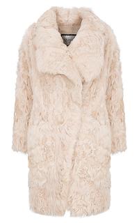 Утепленное пальто из меха козлика с отделкой натуральной кожей Virtuale Fur Collection