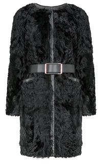 Утепленное пальто из меха козлика с поясом Virtuale Fur Collection