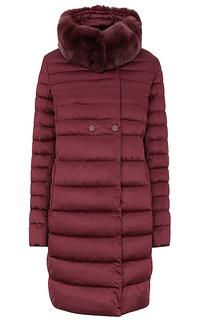 Утепленное пальто с отделкой мехом кролика Le Monique