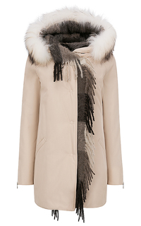 Куртка с отделкой трикотажем и мехом енота Violanti