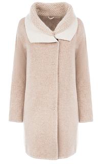 Полушерстяное пальто с отделкой трикотажем Violanti