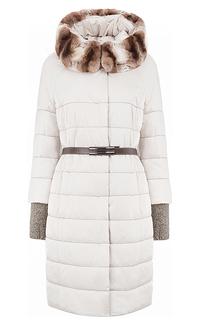 Утепленное пальто с кожаным поясом и отделкой мехом кролика Laura Bianca