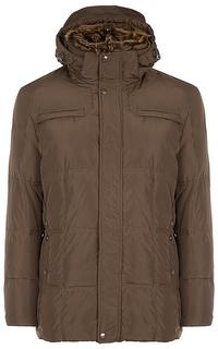 Куртка на искусственном пуху с отделкой мехом енота Al Franco