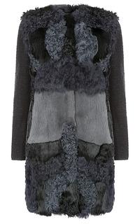 Жакет из овчины и меха кролика с трикотажными рукавами Virtuale Fur Collection