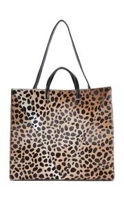 Простая объемная сумка с короткими ручками из кожи с коротким ворсом Clare V.