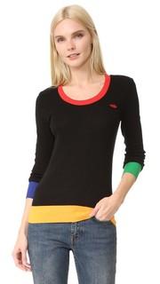 Разноцветный свитер с вышивкой в виде губ Sonia by Sonia Rykiel