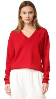 Пуловер с вышитым лицом Grey Jason Wu