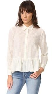 Блуза из ткани оксфорд с оборками THE Great.