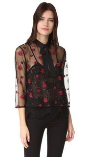Блуза с прозрачной отделкой и цветочным рисунком The Kooples