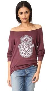 Пуловер Henna с открытыми плечами и изображением хамсы Spiritual Gangster